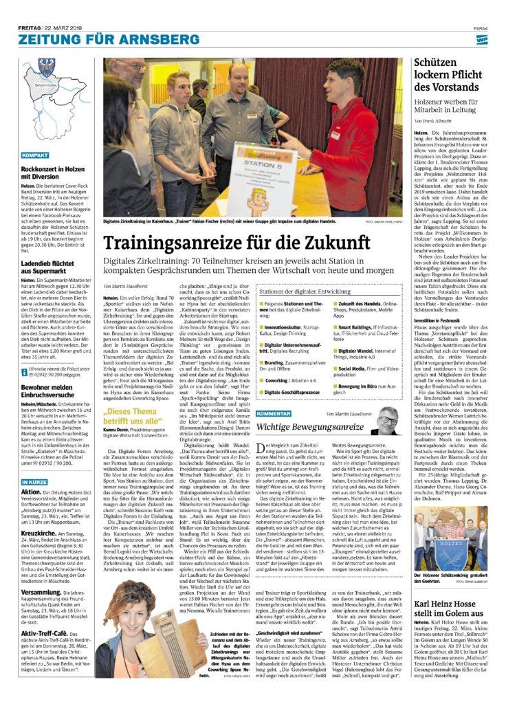 Zeitungsartikel aus der Westfahlenpost vom 22.03.2019